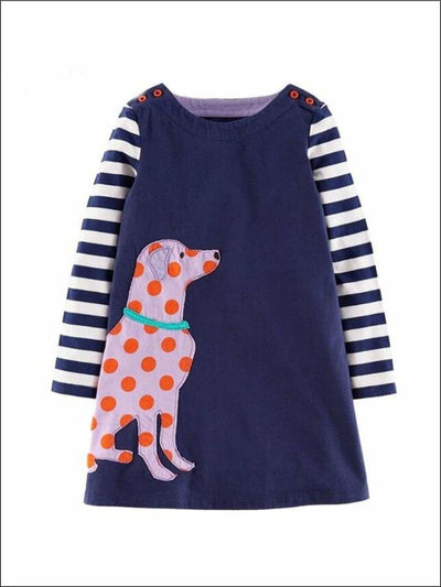 Girls Long Sleeve Animal Applique Dress (4 Colors) - Pink / 2T - Girls Fall Casual Dress