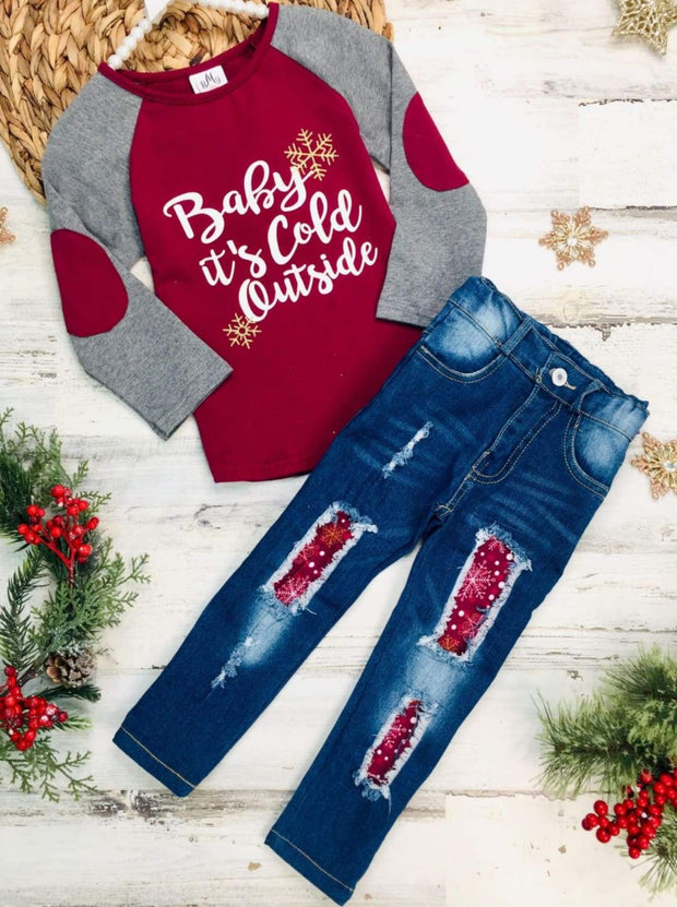 Girls Long Sleeve Baby its Cold Outside Elbow Patch Raglan Sleeve Top & Ripped Jeans Set - Burgundy / 2T - Girls Fall Casual Set
