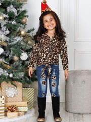 Girls Long Sleeve Button Down Animal Print Knot Top & Ripped Jeans Set - Girls Fall Casual Set
