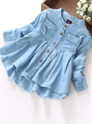 Girls Long Sleeve Button Down Denim Tunic - Denim / 6 - Girls Fall Top