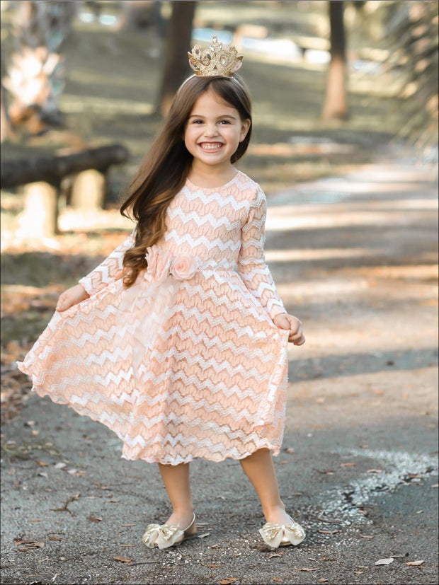 Girls Long Sleeve Chevron Peach Antique Lace Dress with Bow - Girls Fall Dressy Dress