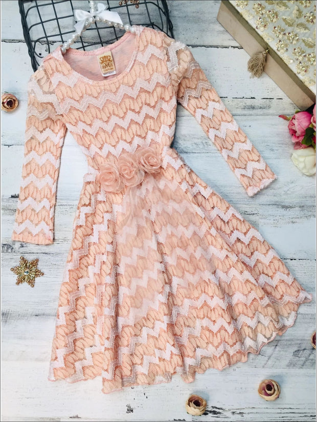 Girls Long Sleeve Chevron Peach Antique Lace Dress with Bow - 3T / Peach - Girls Fall Dressy Dress