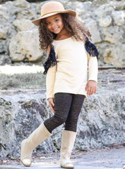 Girls Long Sleeve Cold Shoulder Lace Ruffled Tunic & Animal Print Pencil Pants Set - Beige / 2T/3T - Girls Fall Casual Set