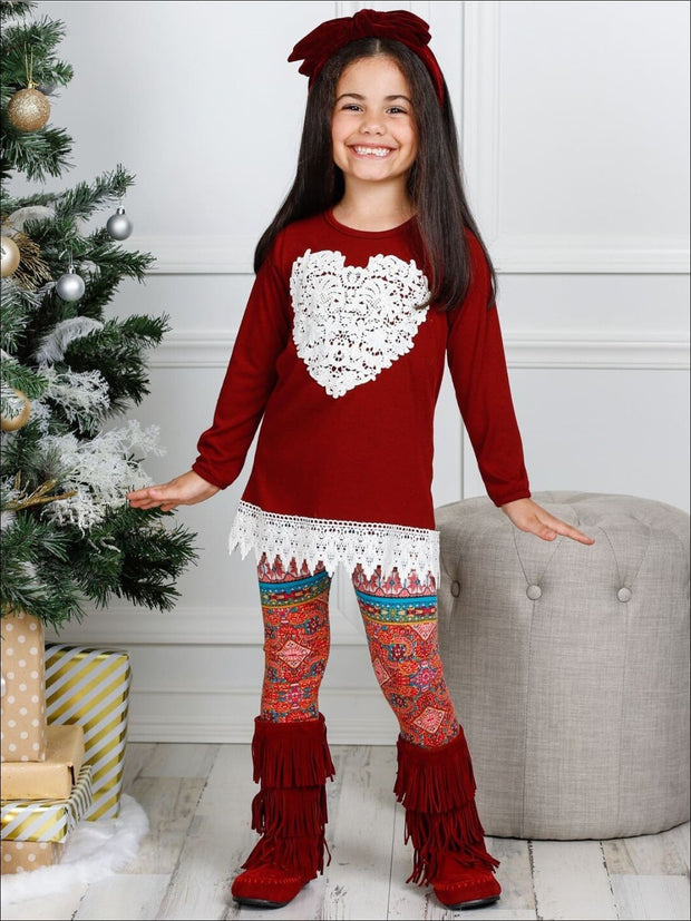 Girls Long Sleeve Crochet Hem Tunic & Leggings Set - Girls Fall Casual Set