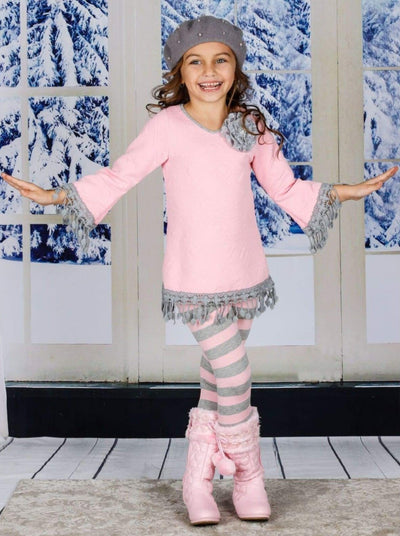 Girls Long Sleeve Crochet Trimmed Tunic & Matching Leggings Set - Girls Fall Casual Set