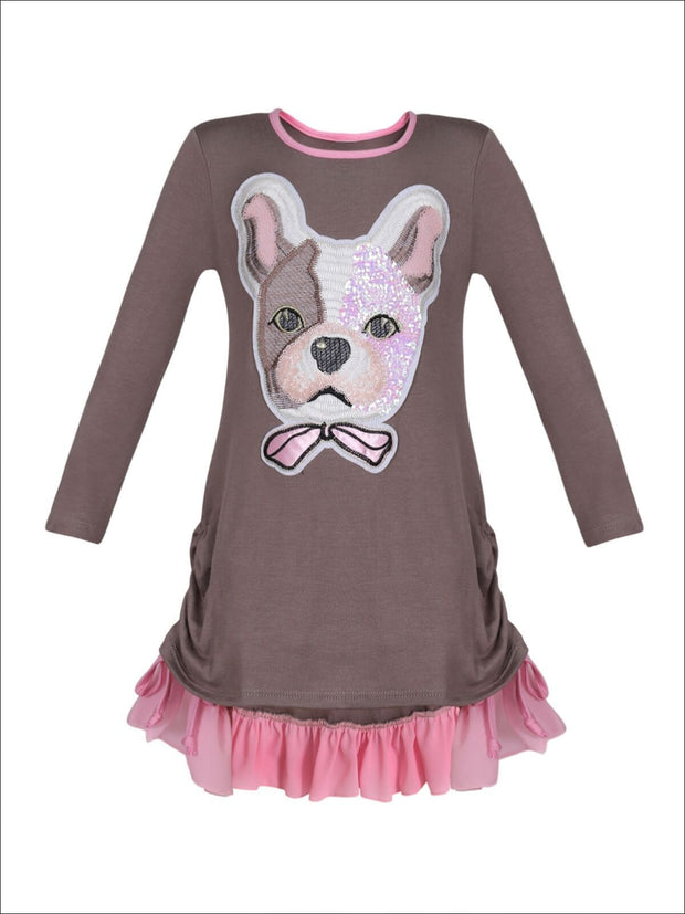 Girls Long Sleeve Drawstring Ruffled Applique Tunic - Taupe / 2T/3T - Girls Fall Top