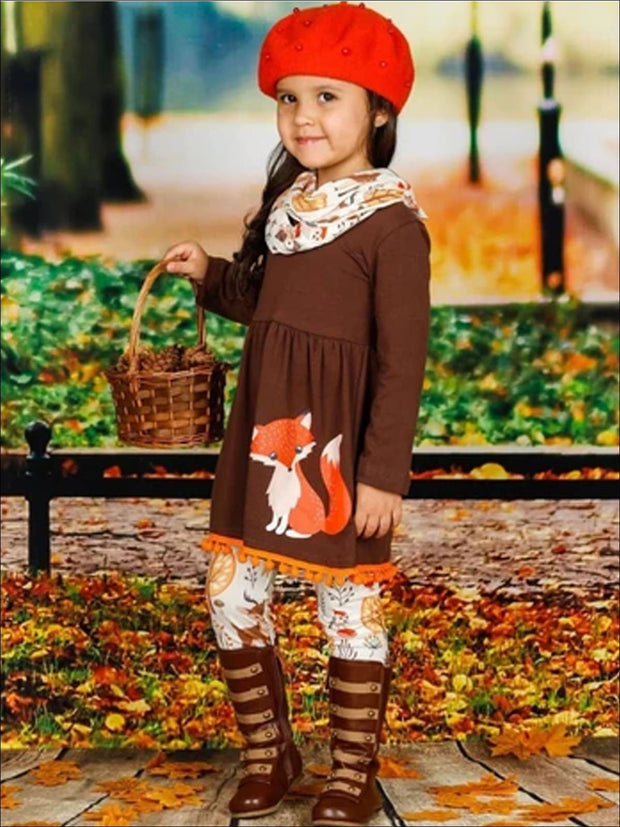 Girls Long Sleeve Fox Applique Tunic with Pom Pom Hem Printed Leggings & Scarf Set - Girls Fall Casual Set