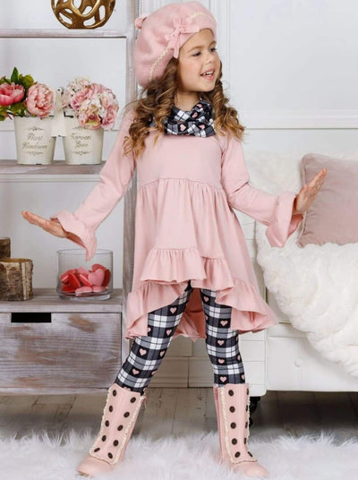 Girls Long Sleeve Hi-Lo Ruffled Tunic Plaid Heart Print Leggings & Scarf Set - Girls Fall Casual Set