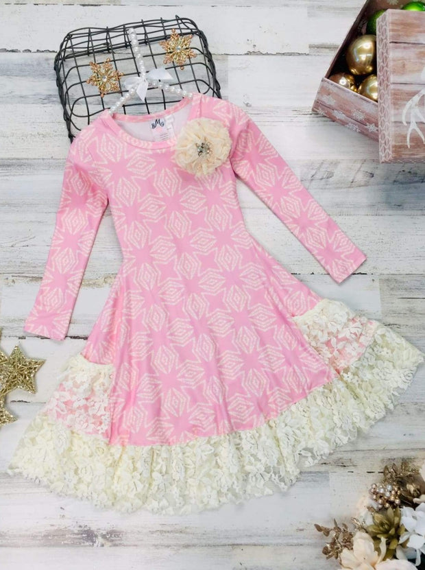 Girls Long Sleeve Insert Ruffled Pocket Dress - Girls Fall Dressy Dress