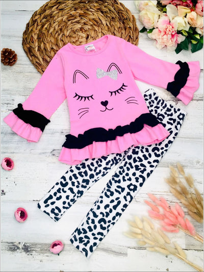 Girls Long Sleeve Kitty Face Ruffled Tunic and Animal Print Leggings Set - Pink / 3T - Girls Fall Casual Set
