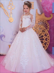 Girls Long Sleeve Lace Communion Gown - White / 2T - Girls Gowns