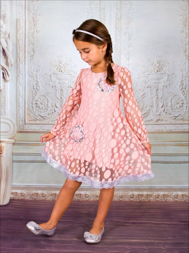 Girls Long Sleeve Lace Dress W/ Embroidered Silver Trim & Floral Sequin Appliques - Girls Fall Dressy Dress