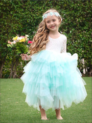 Girls Long Sleeve Lace Maxi Ruffled Flower Girl & Special Occasion Party Dress - Girls Dressy Spring Dresses