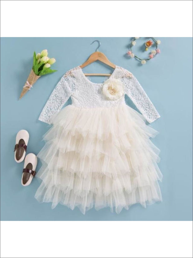 Girls Long Sleeve Lace Maxi Ruffled Flower Girl & Special Occasion Party Dress - beige / 2T - Girls Dressy Spring Dresses