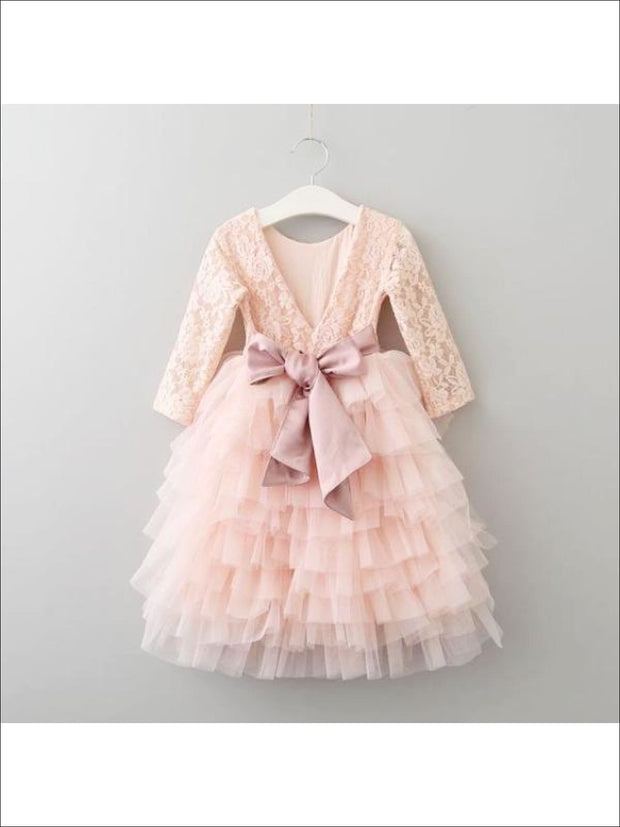 Girls Long Sleeve Lace Maxi Ruffled Flower Girl & Special Occasion Party Dress - Dusty Pink w Bow / 2T - Girls Dressy Spring Dresses