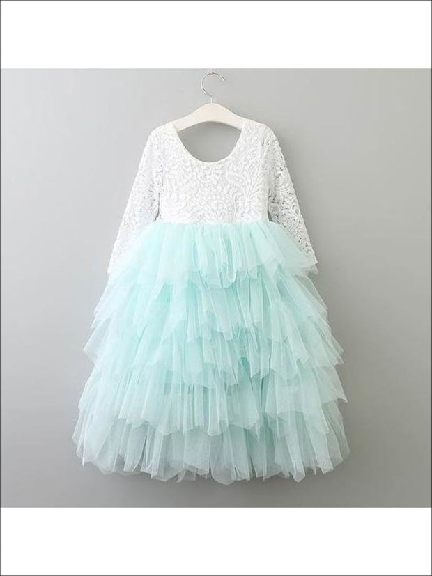 Girls Long Sleeve Lace Maxi Ruffled Flower Girl & Special Occasion Party Dress - mint / 2T - Girls Dressy Spring Dresses