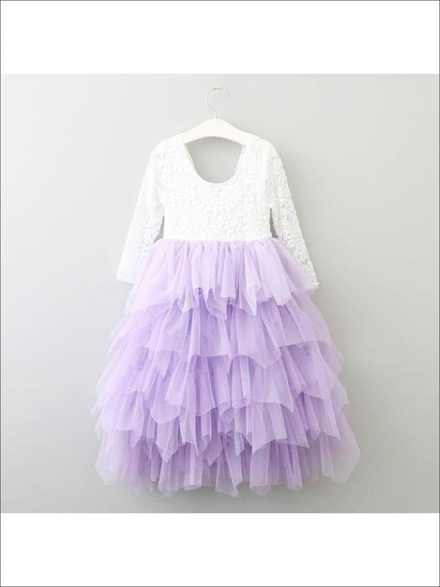 Girls Long Sleeve Lace Maxi Ruffled Flower Girl & Special Occasion Party Dress - purple / 2T - Girls Dressy Spring Dresses