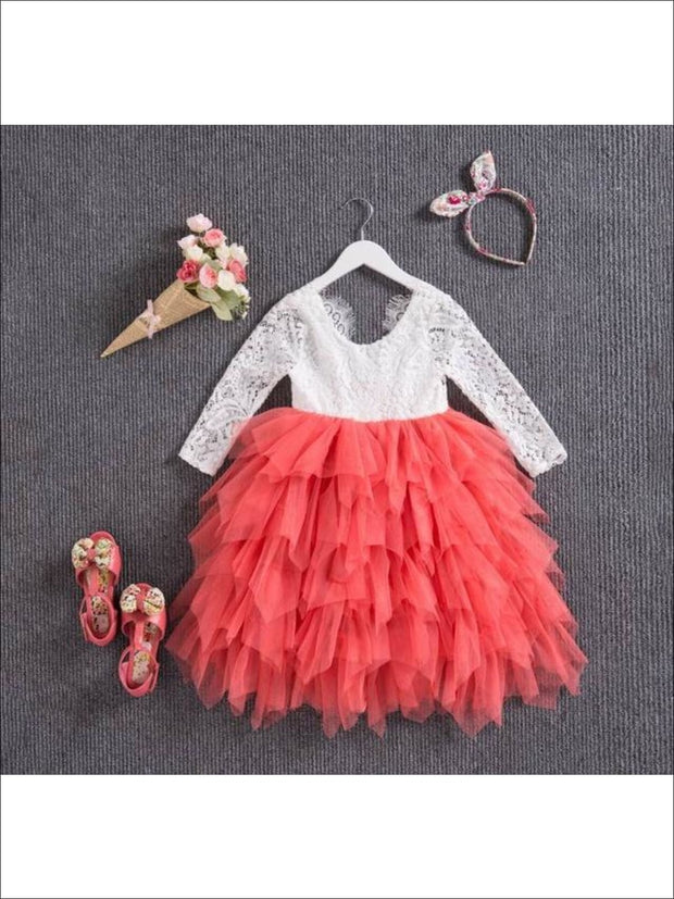Girls Long Sleeve Lace Maxi Ruffled Flower Girl & Special Occasion Party Dress - white/ coral / 2T - Girls Dressy Spring Dresses