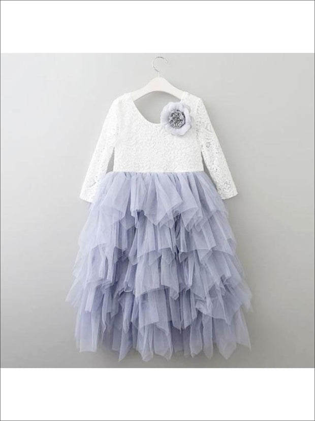 Girls Long Sleeve Lace Maxi Ruffled Flower Girl & Special Occasion Party Dress - White/ Gray / 2T - Girls Dressy Spring Dresses