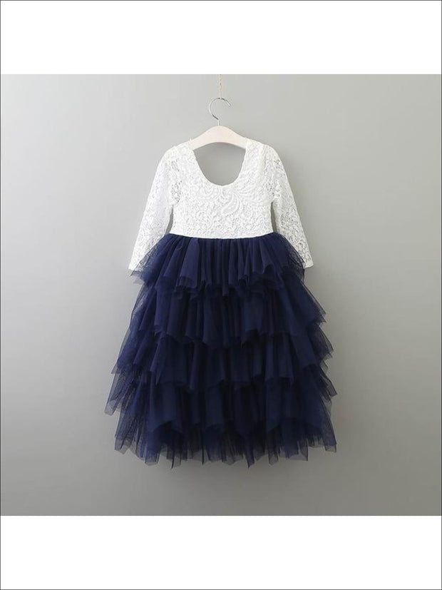 Girls Long Sleeve Lace Maxi Ruffled Flower Girl & Special Occasion Party Dress - white/ navy / 2T - Girls Dressy Spring Dresses