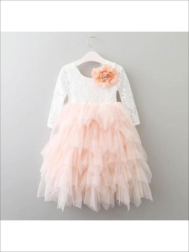 Girls Long Sleeve Lace Maxi Ruffled Flower Girl & Special Occasion Party Dress - White/ Peach / 2T - Girls Dressy Spring Dresses