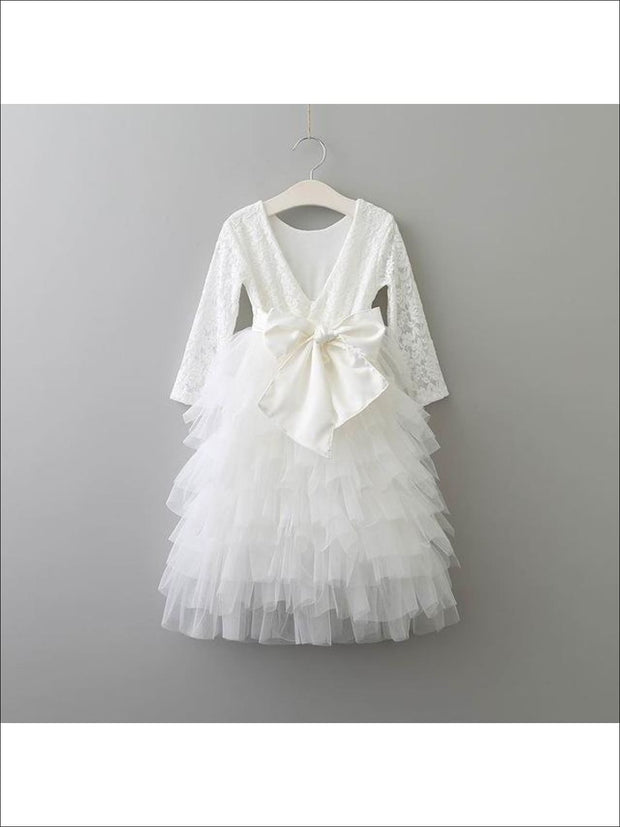 Girls Long Sleeve Lace Maxi Ruffled Flower Girl & Special Occasion Party Dress - white w bow / 2T - Girls Dressy Spring Dresses