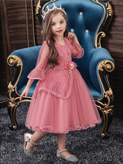Girls Long Sleeve Lace Princess Holiday Dress With Flower Sash - Girls Fall Dressy Dress