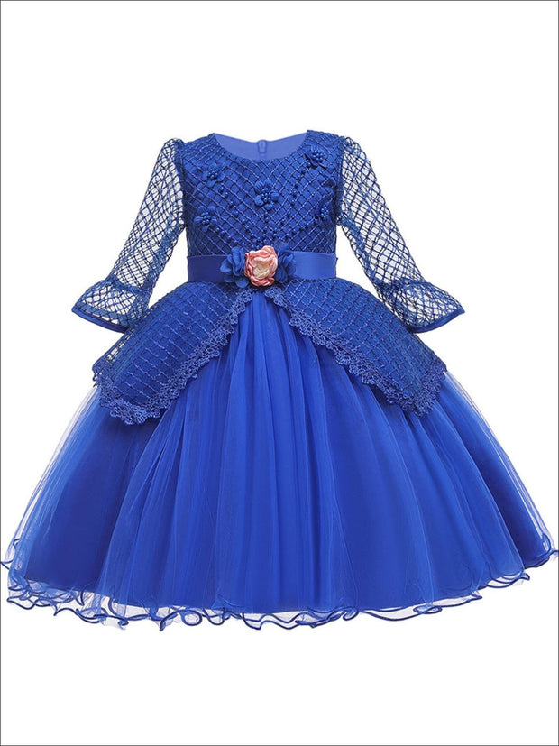 Girls Long Sleeve Lace Princess Holiday Dress With Flower Sash - Blue / 3T - Girls Fall Dressy Dress