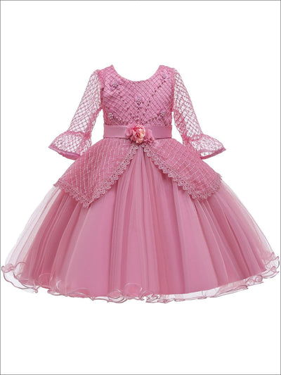 Girls Long Sleeve Lace Princess Holiday Dress With Flower Sash - Pink / 3T - Girls Fall Dressy Dress