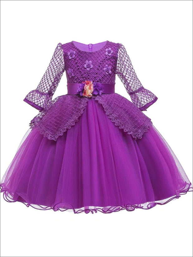 Girls Long Sleeve Lace Princess Holiday Dress With Flower Sash - Purple / 3T - Girls Fall Dressy Dress