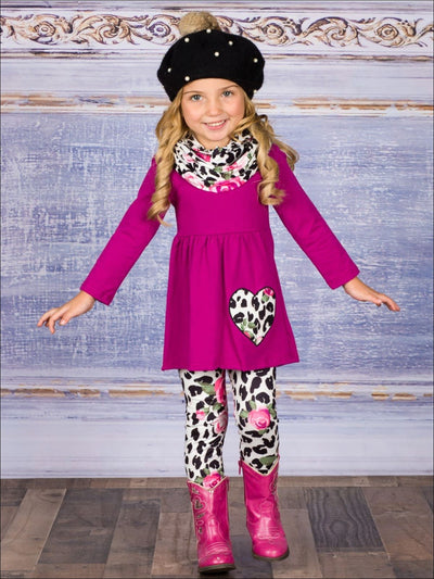 Girls Long Sleeve Leopard Floral Heart Applique Matching Leggings & Scarf Set - Girls Fall Casual Set