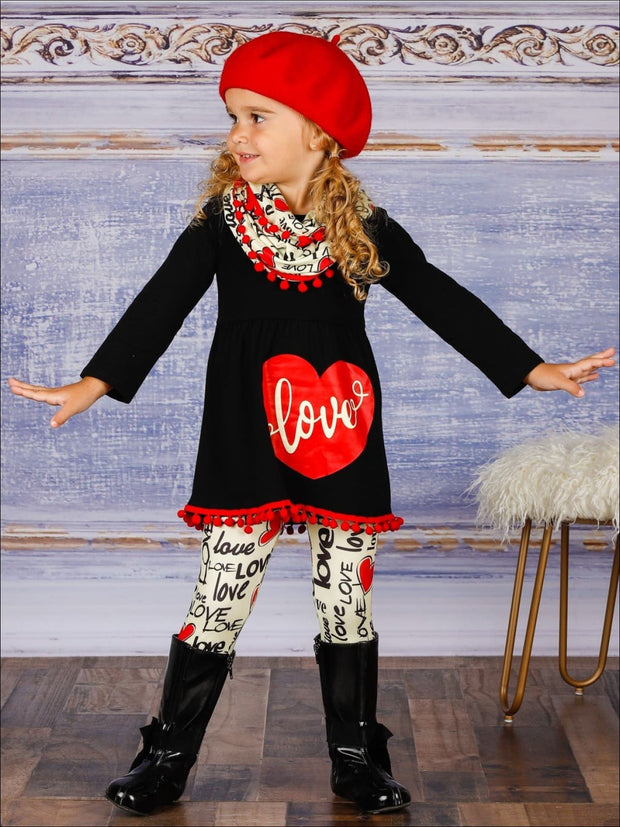 Girls Long Sleeve Love Pom Pom Hem Tunic Love Print Leggings & Scarf Set - Girls Fall Casual Set