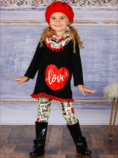 Girls Long Sleeve Love Pom Pom Hem Tunic Love Print Leggings & Scarf Set - Black / 3T - Girls Fall Casual Set