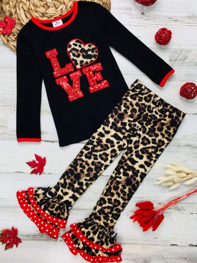 Girls Long Sleeve Love Top & Ruffled Animal Print Leggings - Black / XS-2T - Girls Fall Casual Set