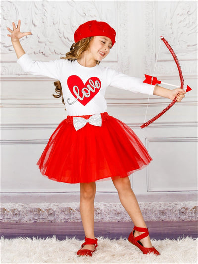 Girls Long Sleeve Love Top & Sequin Bow Tutu Skirt Set - Girls Fall Casual Set