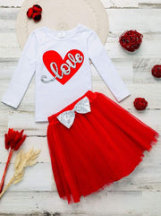 Girls Long Sleeve Love Top & Sequin Bow Tutu Skirt Set - Red / 2T - Girls Fall Casual Set