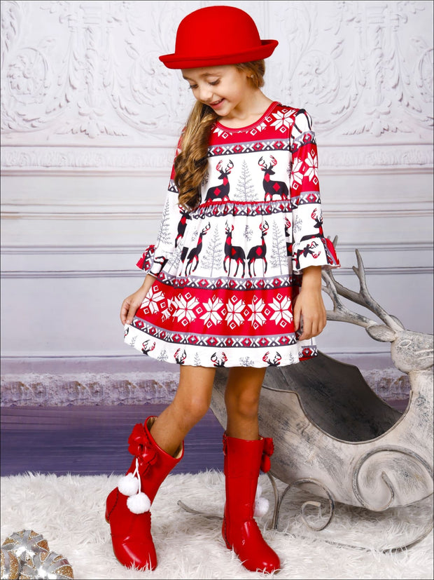 Girls Long Sleeve Moose Print Dress with Bell Sleeves - Girls Christmas Dress