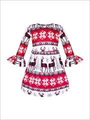 Girls Long Sleeve Moose Print Dress with Bell Sleeves - Red / S-3T - Girls Christmas Dress
