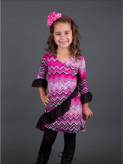Girls Long Sleeve Multi Colored Chevron Print Ruffled Wrap Dress - Girls Fall Casual Dress