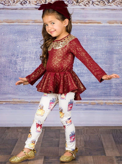 Girls Long Sleeve Peplum Bow Top & Matching Leggings Set - Girls Fall Dressy Set