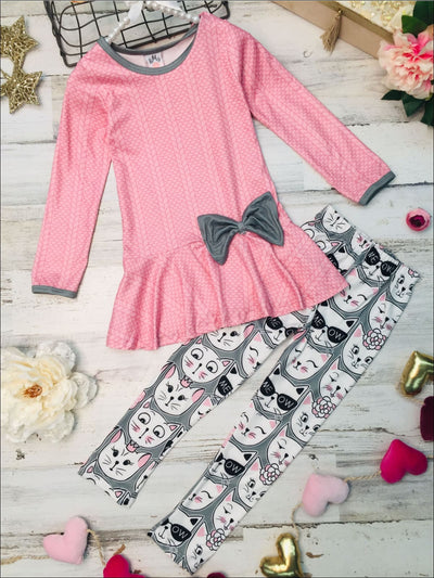 Girls Long Sleeve Peplum Bow Tunic & Leggings Set - Pink / 2T/3T - Girls Fall Casual Set