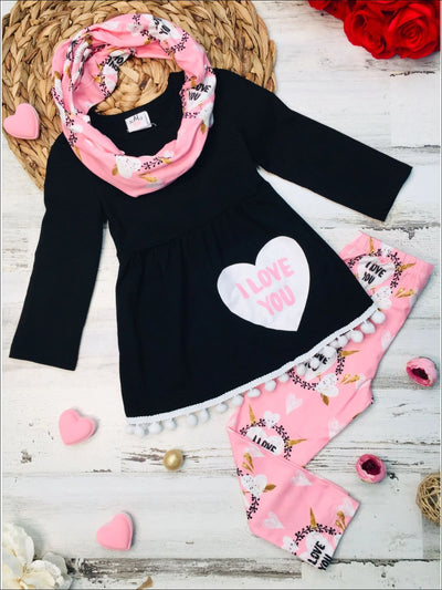 Girls Long Sleeve Pom Pom Hem I Love You Tunic Heart Print Leggings & Scarf Set - Pink / XS-2T - Girls Fall Casual Set