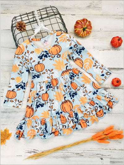 Girls Long Sleeve Pumpkin Leaves Print Double Ruffle Hem Dress - Blue / 2T - Girls Fall Casual Dress