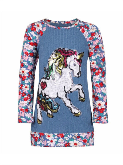 Girls Long Sleeve Raglan Banded Top with Sequin Unicorn Applique - Girls Fall Top