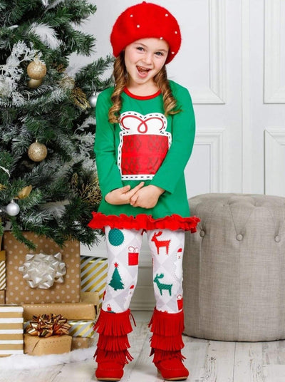 Girls Long Sleeve Ruffled Applique Tunic & Printed Leggings Set - Girls Christmas Set