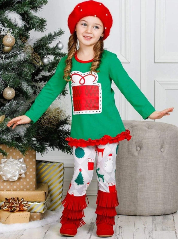 Girls Long Sleeve Ruffled Applique Tunic & Printed Leggings Set - Green / 2T/3T - Girls Christmas Set