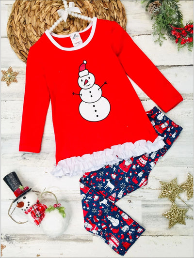 Girls Long Sleeve Ruffled Applique Tunic & Printed Leggings Set - Red / 2T/3T - Girls Christmas Set