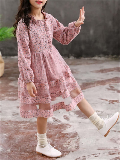 Girls Long Sleeve Ruffled Floral Print Dress (2 Color Options) - Pink / 5Y - Girls Fall Casual Dress
