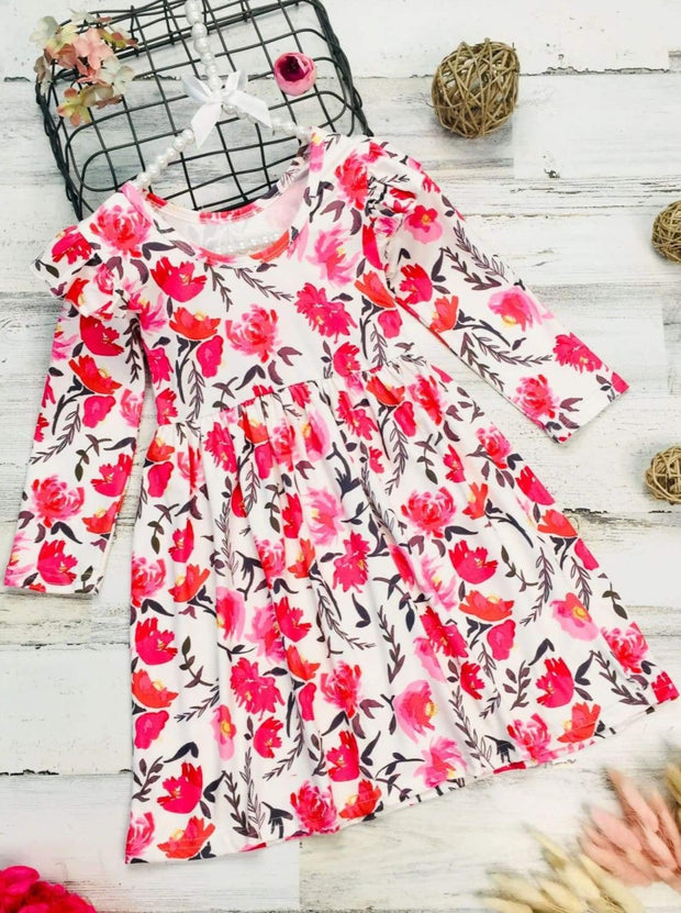 Girls Long Sleeve Ruffled Shoulders Floral Dress - Creme / 2T - Girls Fall Casual Dress