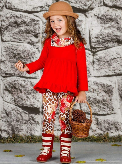 Girls Long Sleeve Ruffled Tunic Animal Floral Print Leggings & Scarf Set - Girls Fall Casual Set